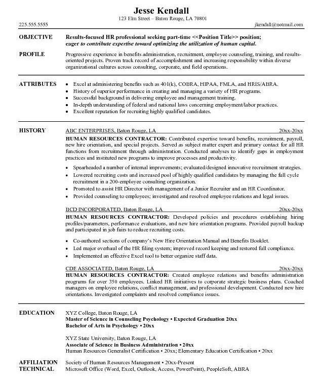 Cool And Opulent Human Resources Resume Objective 1 For - Resume ...
