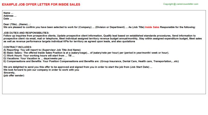 Inside Sales Offer Letter