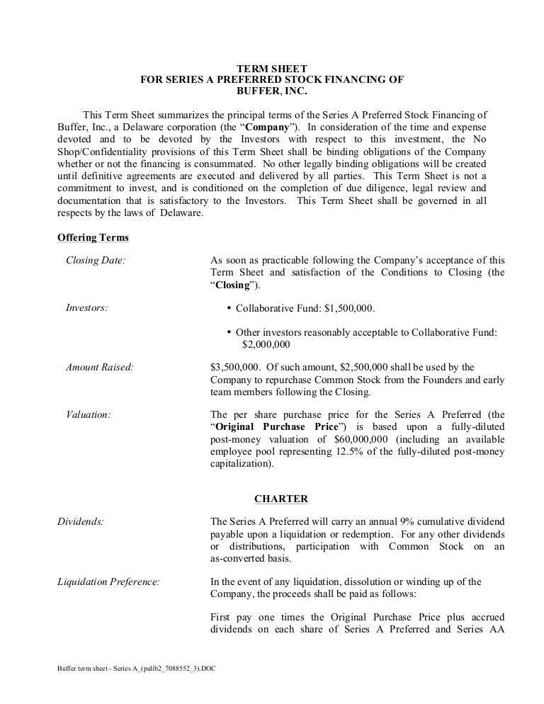 Buffer Series-A Term Sheet