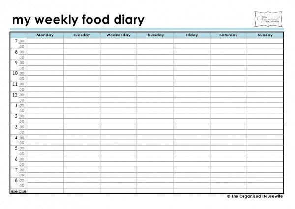 10 Best Images of Weekly Food Log Chart - Weekly Food Diary ...