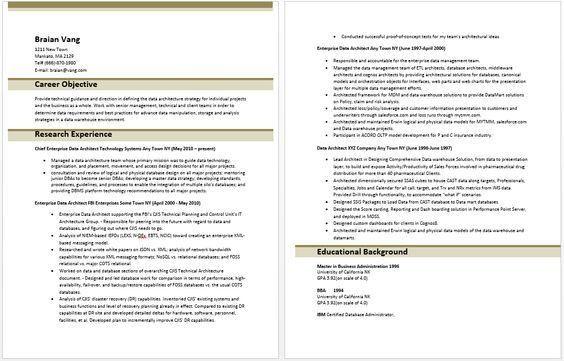 Enterprise Data Architect Resume | Resume Templates | Pinterest ...