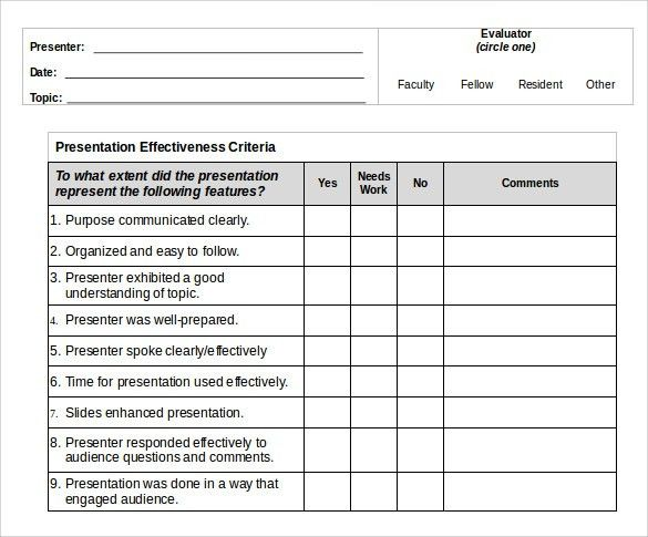 Presentation Evaluation Form Template Word - Tomyads.info
