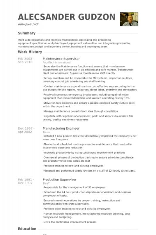 Maintenance Supervisor Resume – Resume Examples