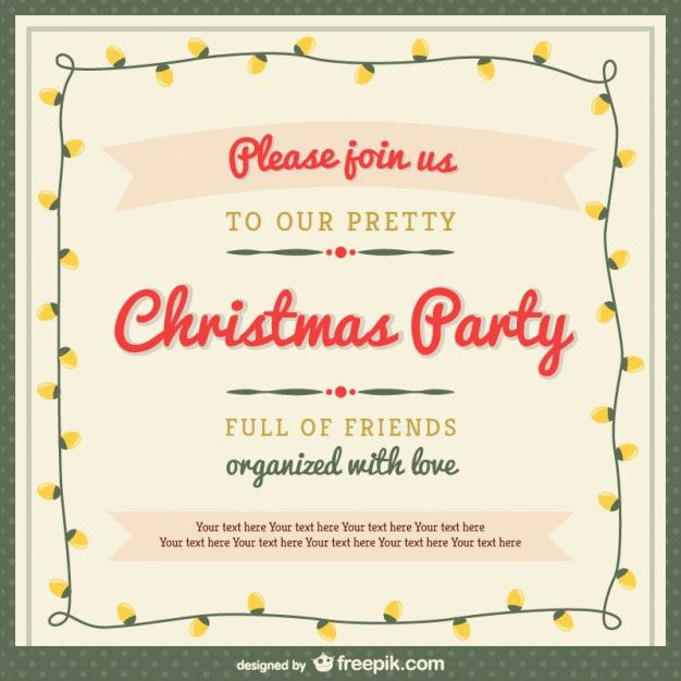 Christmas party invitation template with ornaments Vector | Free ...
