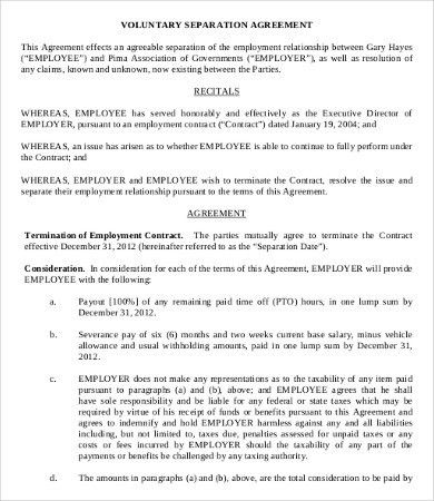 Simple Employment Separation Agreement Template - 7+ Free PDF ...