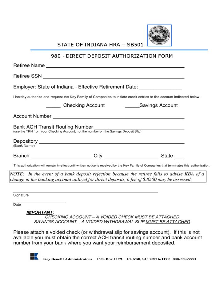 Direct Deposit Authorization Sample Form   Indiana Free Download