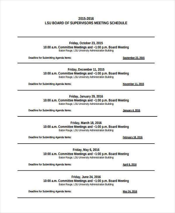 4+ Agenda Calendar Examples, Samples