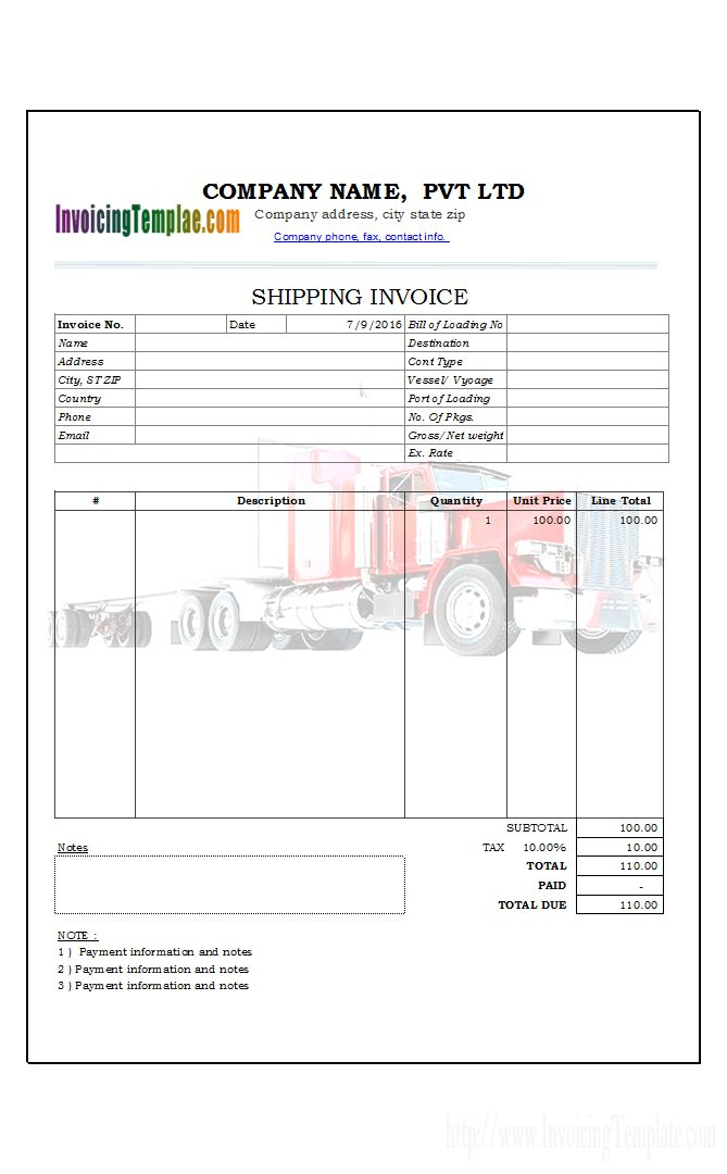 Shipping Invoice Template (1)