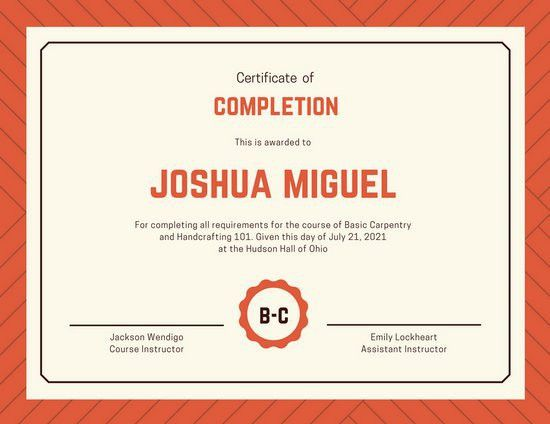 Red Cream Simple Certificate of Completion - Templates by Canva
