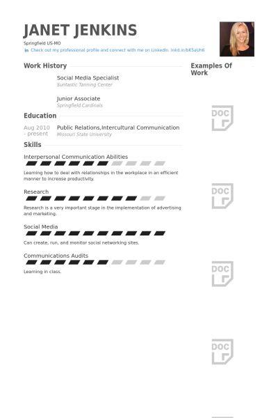 Social Media Specialist Resume samples - VisualCV resume samples ...