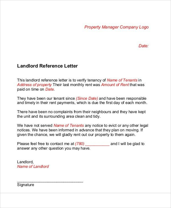 Landlord Recommendation Letter Sample. 15+ Landlord Reference ...