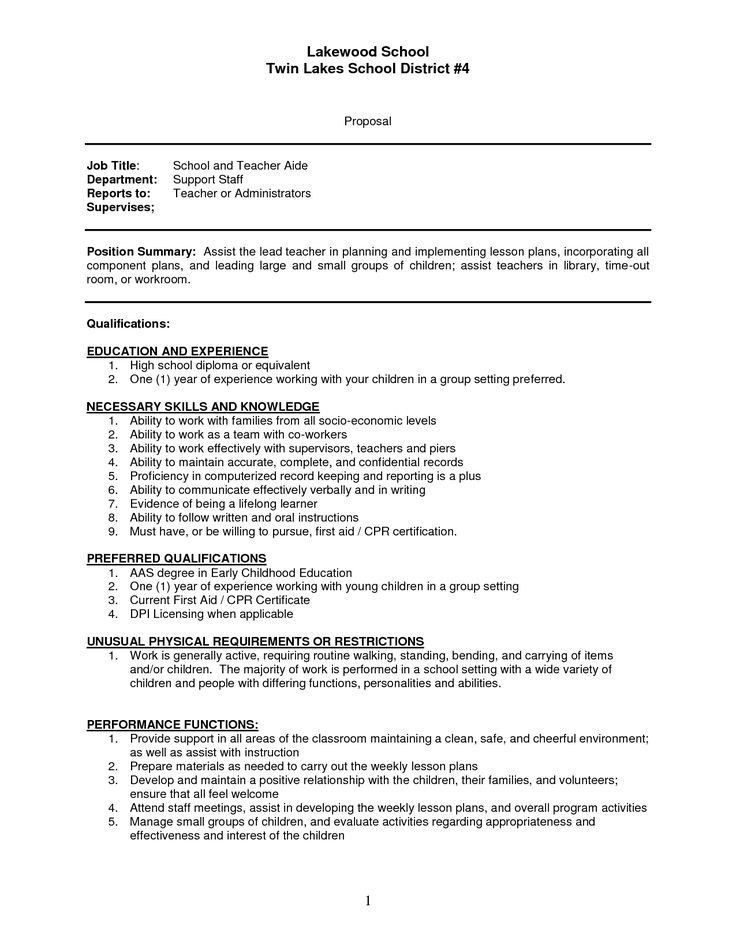 Teacher Assistant Job Duties Resume - Ecordura.com