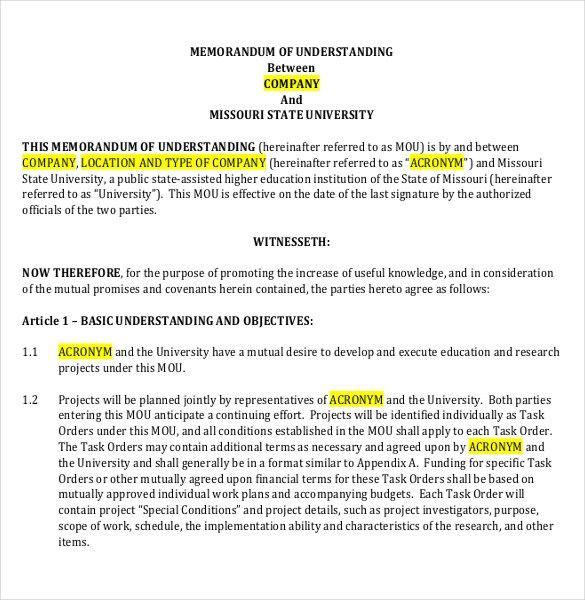 Memorandum of Understanding Template - 12 Free Word, PDF Documents ...