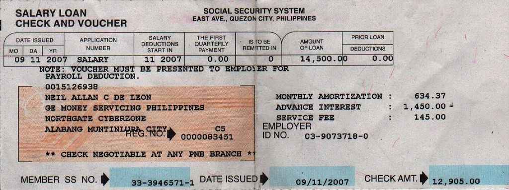 SSS Salary Loan Check Voucher | Neil Allan de Leon | Flickr