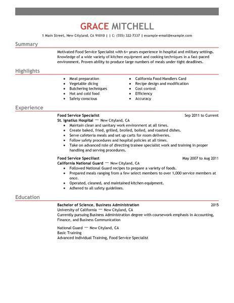 Simple Food Service Specialist Resume Example | LiveCareer