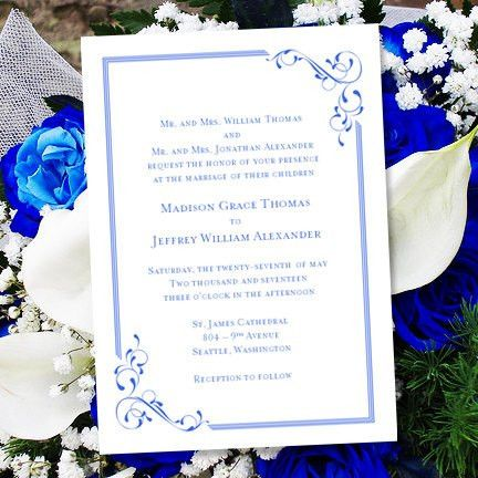 "Printable Wedding Invitation Template ""Elegance"" Royal Blue 