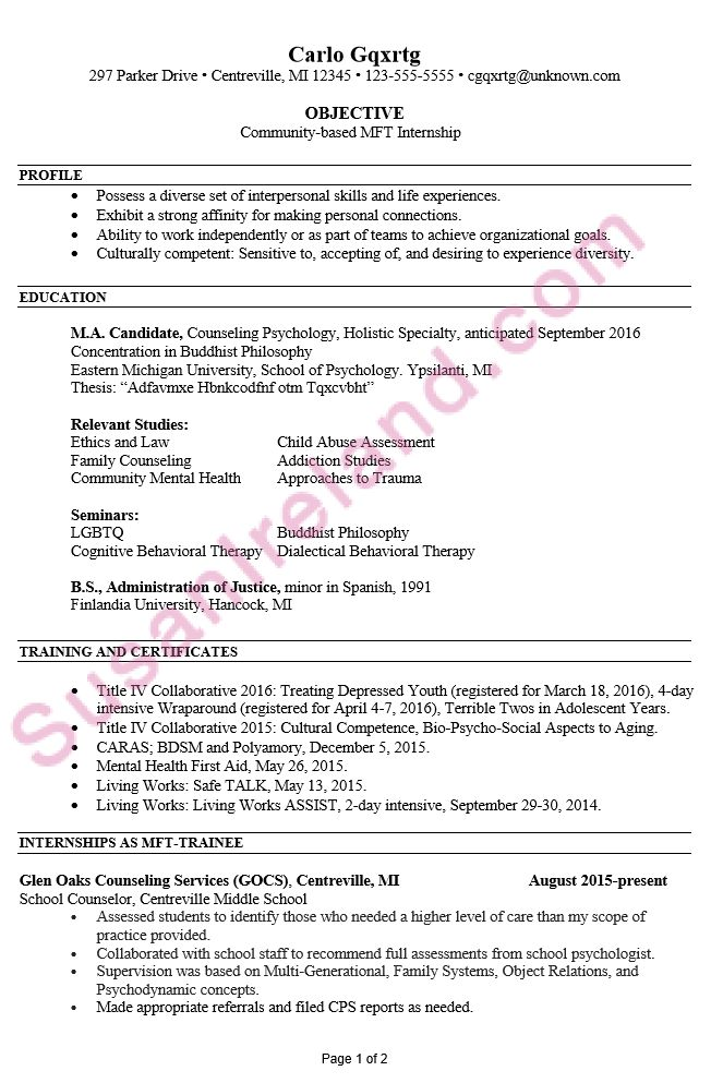 mft resume sample resume for an mfcc therapist susan ireland