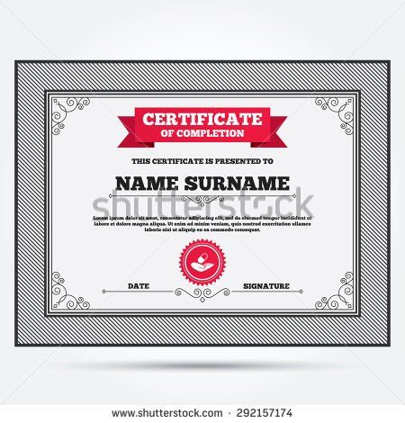 Certificate Completion House Insurance Sign Hand Stock Vector ...