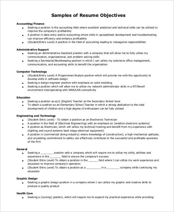 Example of Resume - 9+ Samples in Word, PDF