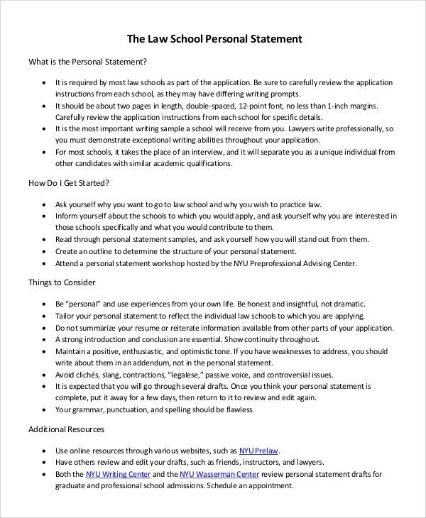 Sample Law School Personal Statement - 7+ Examples in PDF