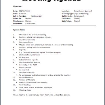 Formal Meeting Agenda Template Archives - Word Templates