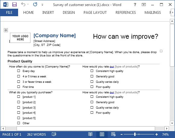 Customer Service Template For Word