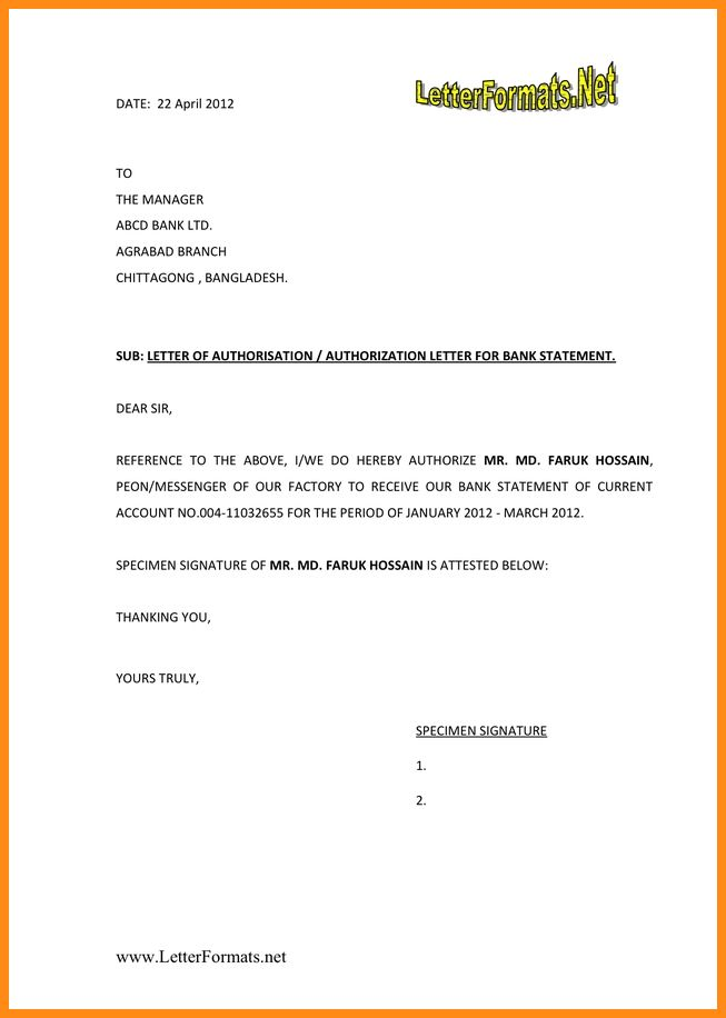 7+ authorisation letter to bank | musicre sumed