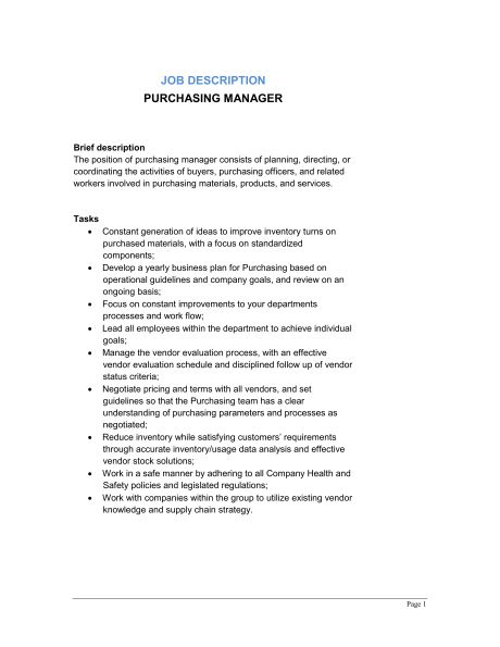 Purchasing Manager Job Description - Template & Sample Form ...