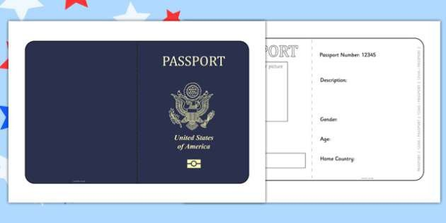 States of America Passport Template - passport, template