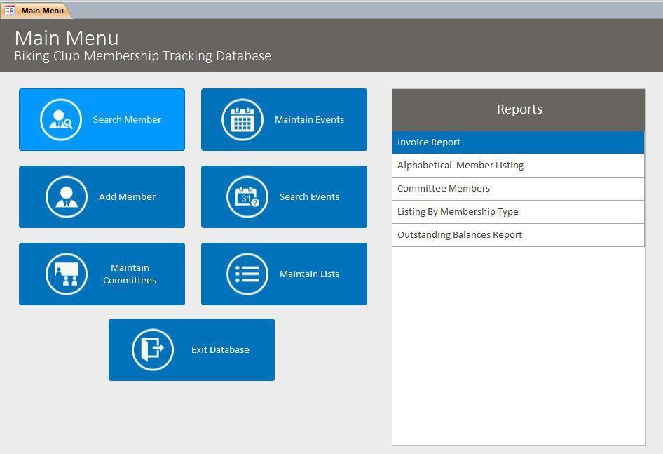 Microsoft Access Biking Club Membership Tracking Database Template