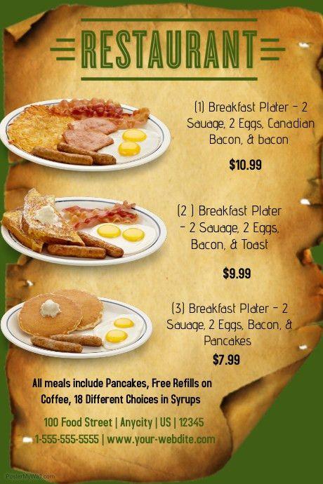 Restuarant Breakfast Menu template | PosterMyWall