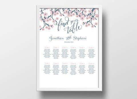 Wedding Seating Chart DIY | Editable MS Word Template | Cherry ...