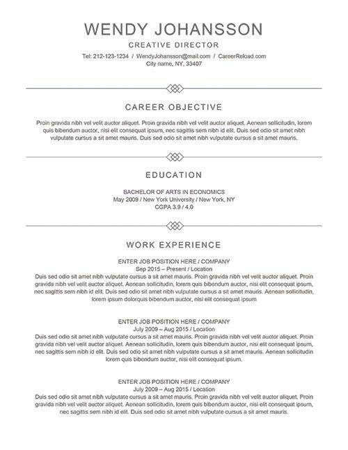 Free Resume Templates for Microsoft Word - Free Download