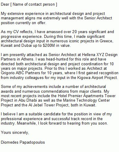 Architect Cover Letter Sample