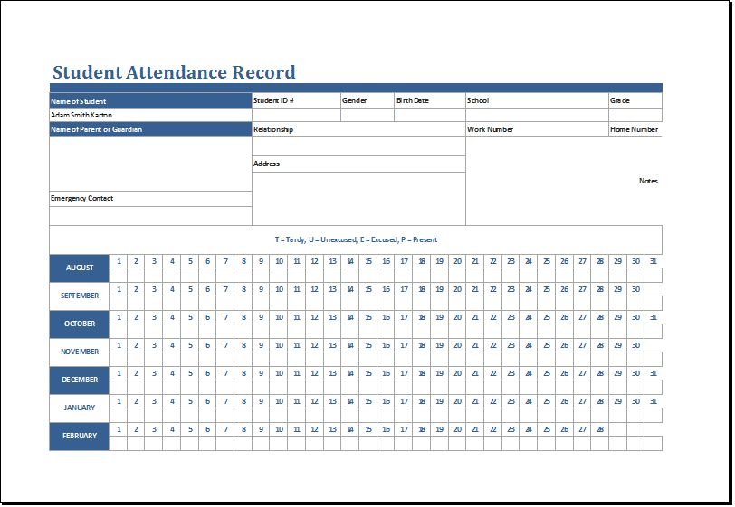 Student Attendance Record Template MS Excel | Excel Templates