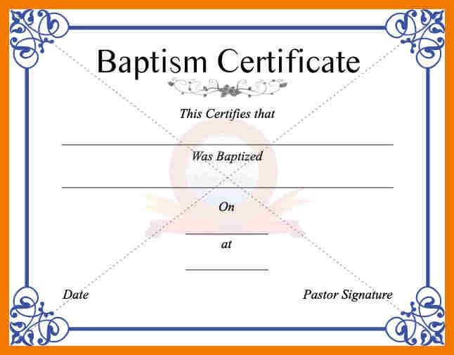 Sample Baptism Certificate Template. Affidavit In Lieu Of Baptism ...