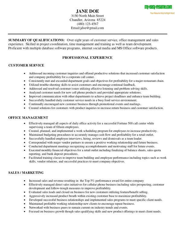 Resume Template For Customer Service. Sample Customer Service ...