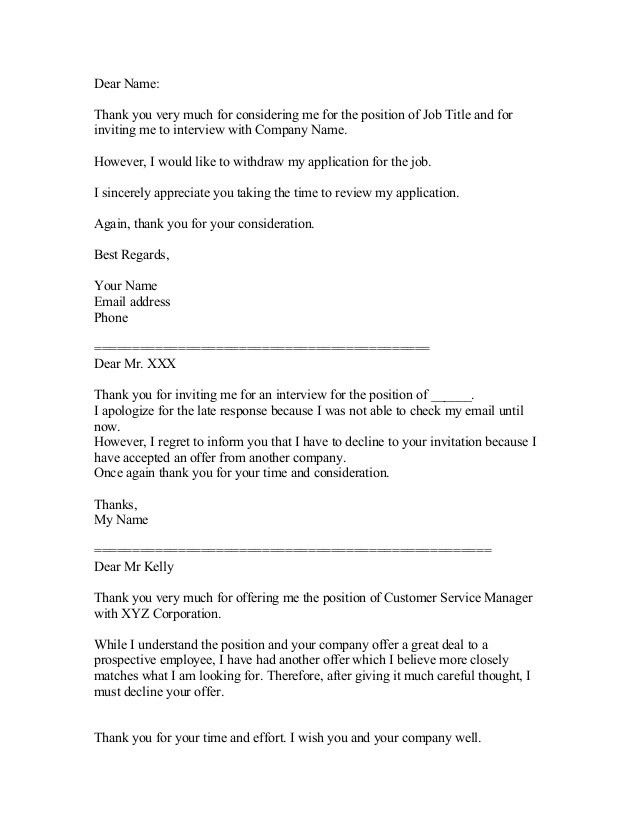 Ideas Collection Job Interview Decline Letter Sample About Format ...