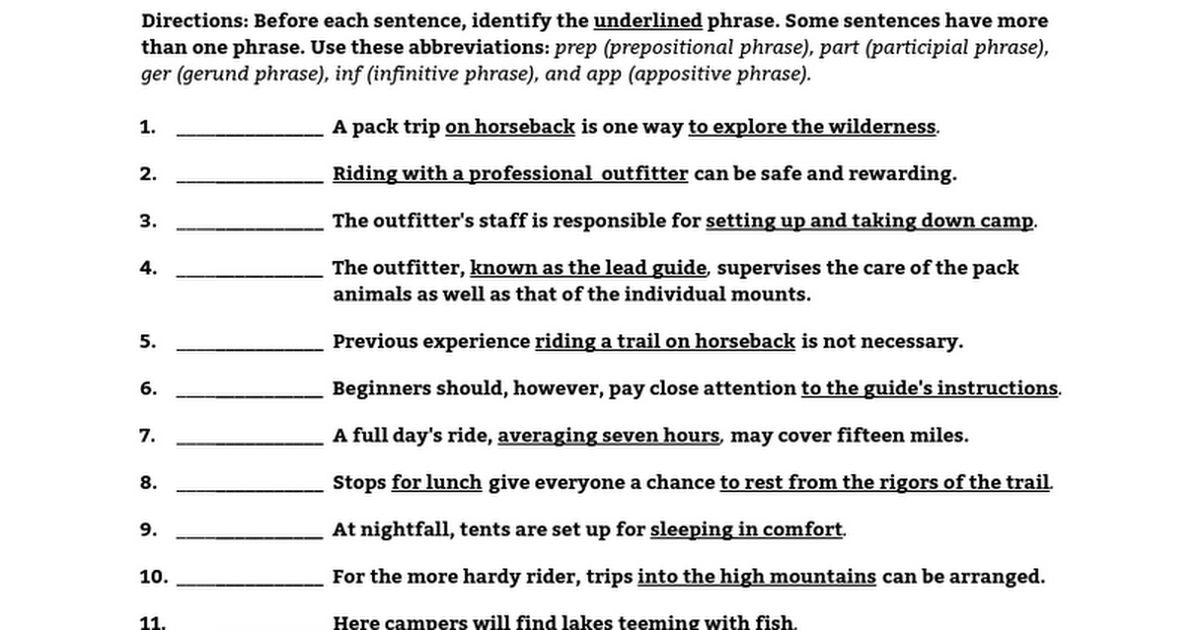 Phrases Review Worksheet Packet - Google Docs