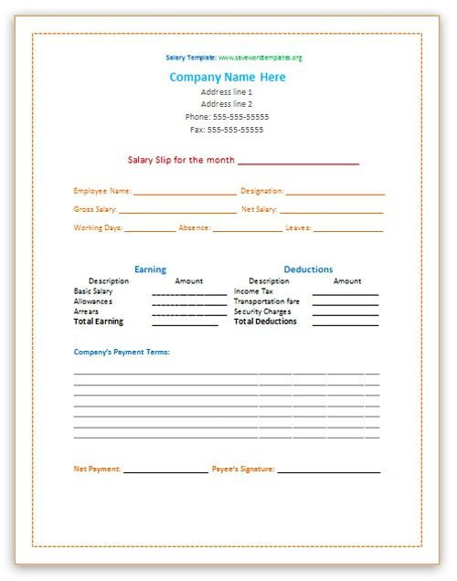 Salary Slip Template | Save Word Templates