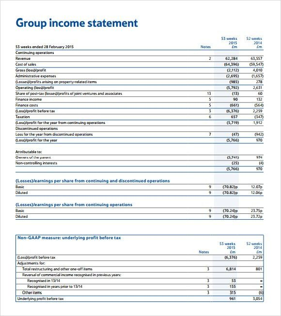 7+ Income Statement Templates - Word Excel PDF Templates