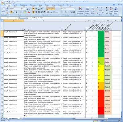 Requirements Tracking Spreadsheet | GetProjectTemplates