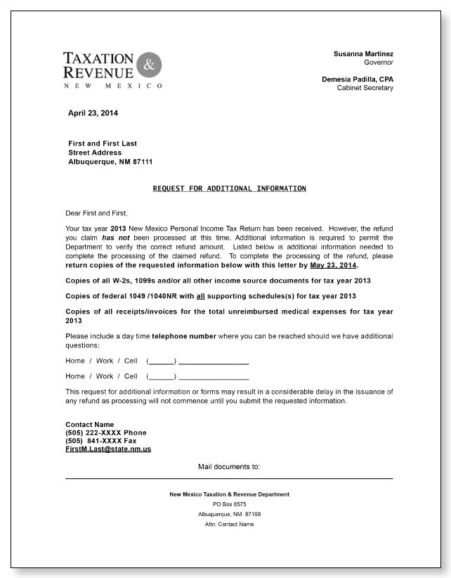 New Mexico Taxation Revenue Request for Additional Information Letter