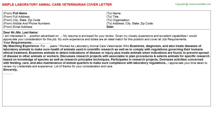 Animal Care Assistant Cover Letters