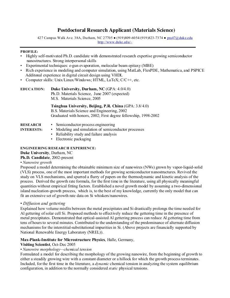 PhD CV: Postdoctoral Research