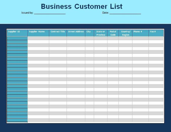 Customer List Template | Formsword: Word Templates & Sample Forms