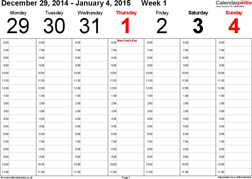 Weekly calendar 2015 UK - free printable templates for Word