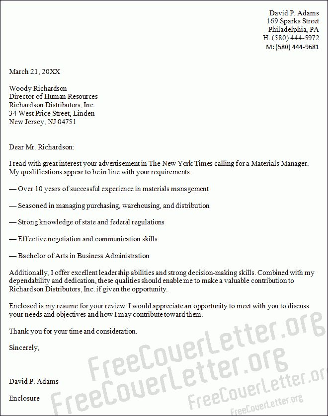 Manager Cover Letter Sample
