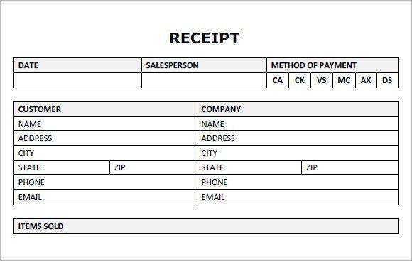 blank payment receipt template