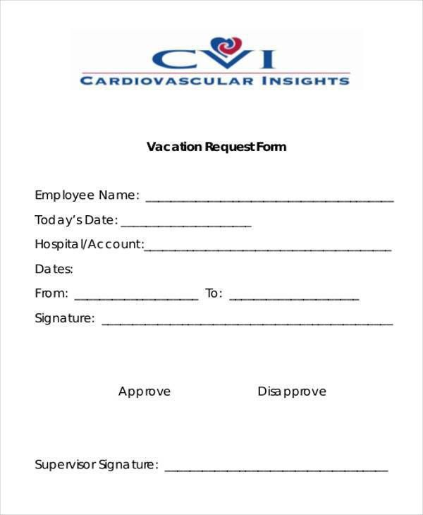 Sample Employee Vacation Request Forms   7+ Free Documents In Word .
